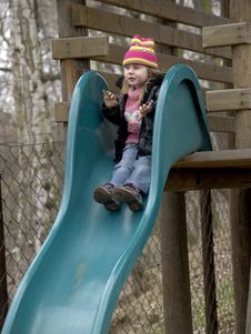 Free Girl On Slide Stock Image - 4979741