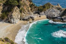 Beach And McWay Falls, Big Sur Stock Photo