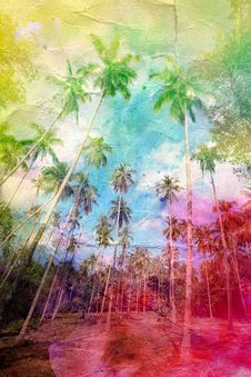 Free Watercolor Retro Palm Grove Stock Image - 49761811