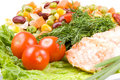 Free Stake From A Salmon With Vegetables Stock Photography - 4986232