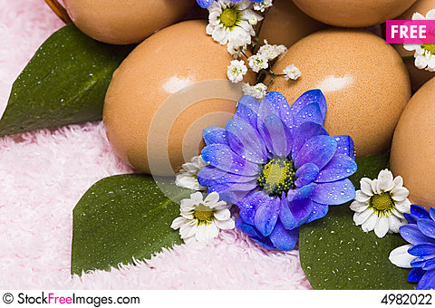 Free Easter Egg With Blue Flowers Stock Photography - 4982022