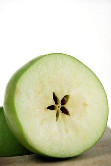 Cut Fresh Green Apple Stock Image