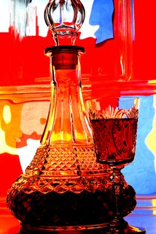 Free Wine Bottle & Glass Abstract Royalty Free Stock Photography - 4982137