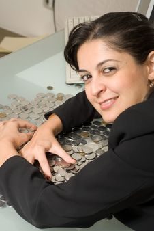 Free Woman Protecting Her Money Stock Photography - 4982362