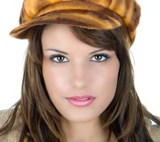 Free Brunette With Retro Bonnet Royalty Free Stock Images - 4983539