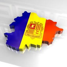 3d Flag Map Of Andorra Royalty Free Stock Photo