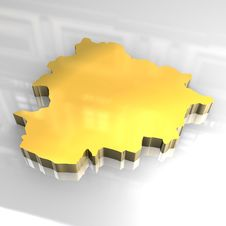 3d Golden Map Of Andorra Royalty Free Stock Photography