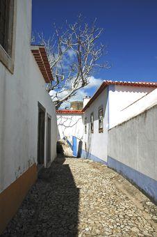 Portugal Obidos; Typical Street Stock Photos