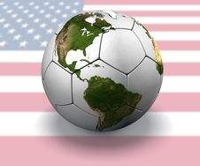 Soccer Globe With US Flag Royalty Free Stock Photos