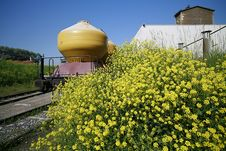 Free Rail Transport With Yellow Silos Stock Images - 4985284