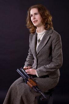 Free Businesswoman With Submachine Gun Royalty Free Stock Photo - 4987315
