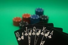 Free Poker Hand - Clubs Straight Flush Stock Photo - 4987540