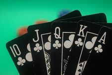 Free Poker Hand - Clubs Straight Flush Stock Photo - 4987580