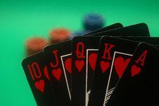 Free Poker Hand - Hearts Straight Flush Stock Image - 4987681