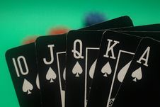 Free Poker Hand - Spades Straight Flush Royalty Free Stock Images - 4987749