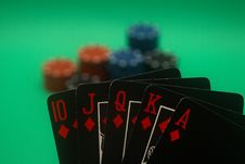Free Poker Hand - Diamonds Straight Flush Stock Photo - 4987790