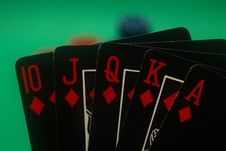 Free Poker Hand - Diamonds Straight Flush Stock Photography - 4987812