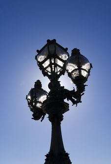 Ornate Lamppost, Pont Alexandre III, Paris, France Royalty Free Stock Photo