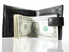 Free Black Leather Purse With Money Royalty Free Stock Photos - 4989658