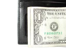 Free Black Leather Purse Money Stock Image - 4989711