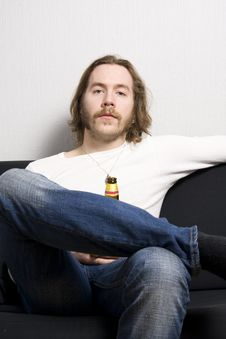 Free Man With Bottle Of Beer Stock Photos - 4994073