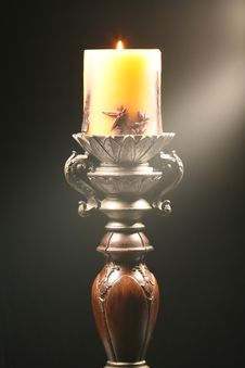 Free Antique Wooden Candlestick With Ray Of Light Stock Photo - 4994170