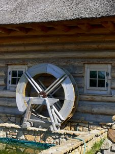Old Wooden Mill Wheel Detail. Stock Image