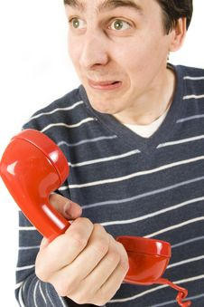 Free Red Telephone Receiver Stock Photo - 4994890