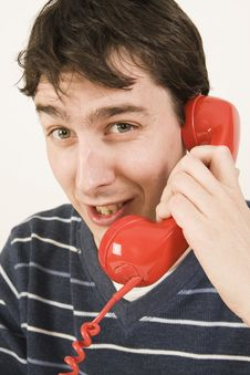Red Telephone Receiver Stock Images