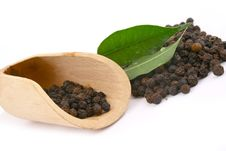 Peppercorns In Wooden Royalty Free Stock Photo