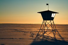 Free Life Guard S Hut During Sunset In Winter Stock Photos - 4997383