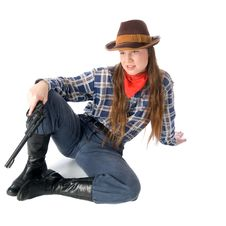 Free Cowgirl With Gun Sitting Stock Image - 4998111