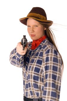 Smiling Cowgirl With Gun Aim At Someone Stock Photos