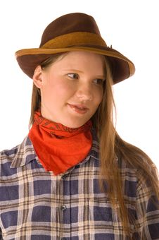 Free Portrait Of Cowgirl Stock Image - 4998151