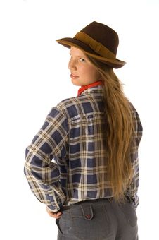 Free Young Woman In Cowboy Dress Looking Backward Stock Images - 4998154