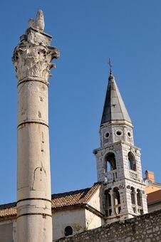 Free Tower And Pillar In Zadar, Croatia Royalty Free Stock Image - 4998536