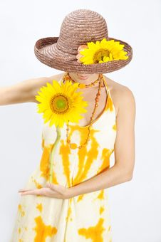 Free Girl Holding Sunflower Stock Photo - 4999060