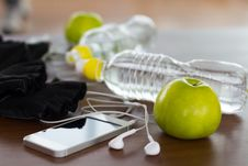Free Fitness Equipment And Healthy Nutrition Stock Images - 49990004