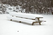 Free Snow Covered Picnic Table Stock Photo - 52310