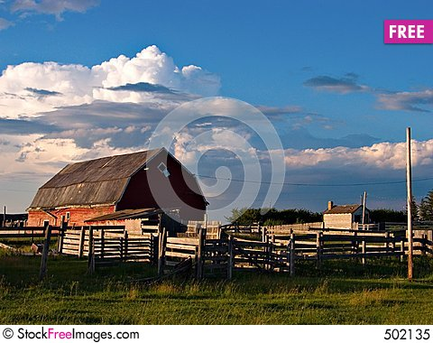 Late Day Farm Stock Photo