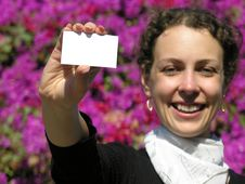 Free Girl With Card For Text Stock Photo - 500570