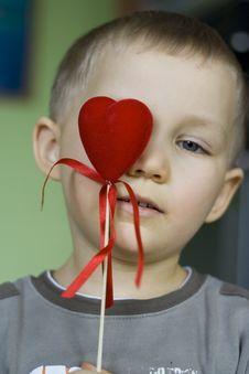 Free Young Boy With Valentine Heart Stock Images - 506754