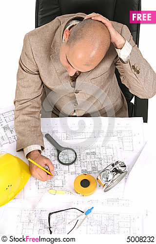 Free Businessman Thinking With Architectural Plans Stock Photography - 5008232