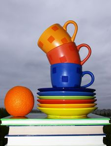 Free Cups, Books And Orange Royalty Free Stock Photo - 5000465