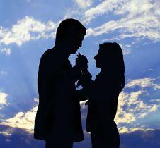 Free Two Silhouettes Stock Photos - 5000713