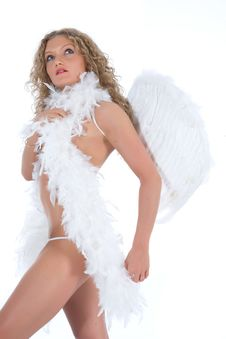 Portrait Of The Nude Blonde-angel With Blue Eyes Stock Photo