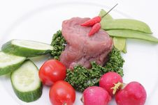 Free Vegetables And Raw Meat Stock Photography - 5002852