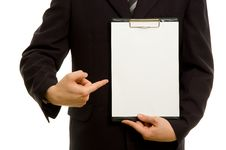 Free Businessman Holding A Blank Notepad Royalty Free Stock Images - 5002919