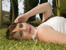 Free Woman In The Grass Stock Photos - 5003303