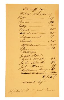 Free Very Old Legal Bill, Dated Early 1800s. Stock Image - 5004631